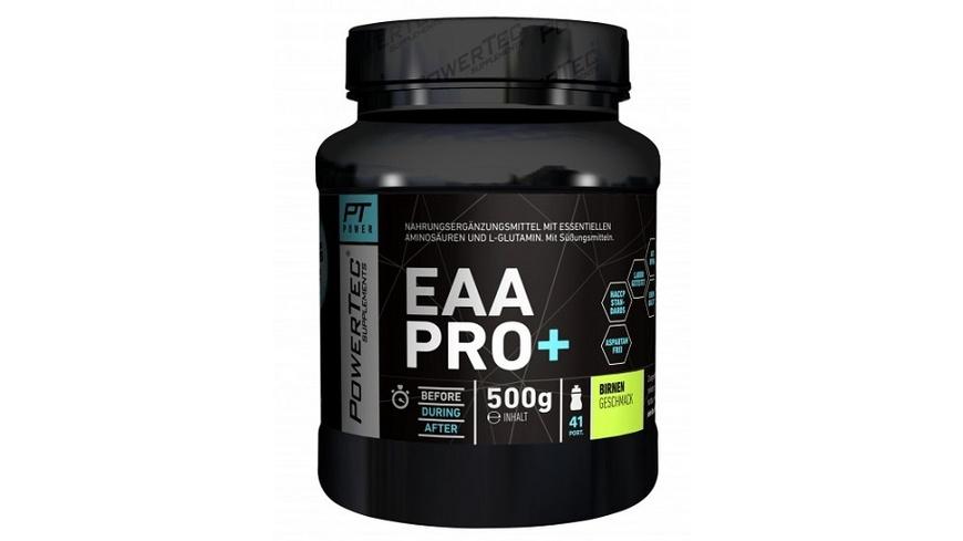 POWERTEC SUPPLEMENTS EAA Pro+ Drink - Pulver mit essentiellen Aminosäuren und Glutamin - für raschen Muskelaufbau  Muskelerhalt und Regeneration Ananas  500 g
