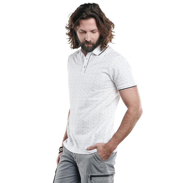 Poloshirt mit Minimalprint und Kontrast-Details