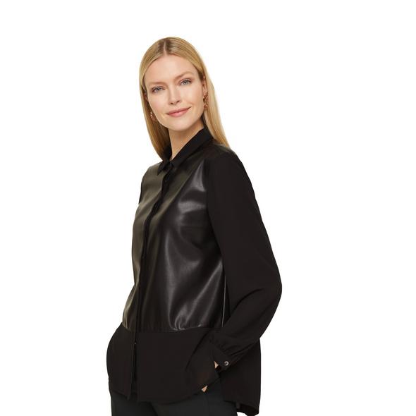 Bluse mit Fake Leather-Details - Hemdbluse