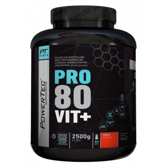 POWERTEC SUPPLEMENTS Pro 80 Vit+ - hochwertiges Proteinpulver mit Vitaminen. Zink und Chrom - rasche. anhaltende Eiweißversorgung (Dunkle Schokolade). 2500g